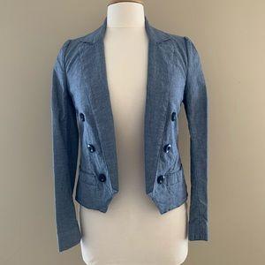 NWOT Marc Jacobs Blue Cotton Open Front Blazer 4